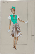 "Movie/TV Memorabilia:Costumes, A Judy Garland Costume Design Sketch by Irene from ""Easter Parade.""..."