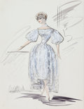 Movie/TV Memorabilia:Costumes, A Debbie Reynolds Costume Design Sketch by Edith Head, Circa1950s....