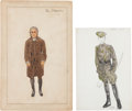 Movie/TV Memorabilia:Costumes, A Group of Male Costume Design Sketches, 1935, 1966.... (Total: 2 Items)