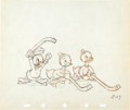 Animation Art:Production Drawing, Hockey Champ Huey, Dewey, and Louie Production DrawingAnimation Art (Walt Disney, 1939)....