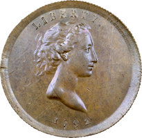 Featured item image of 1792 P25C Copper Quarter Dollar, Judd-12, Pollock-14 MS63 Brown NGC. CAC....