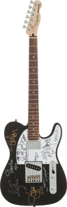 Music Memorabilia:Autographs and Signed Items, Steve Vai, Vince Neil, and Others Signed Guitar (Fender, 2002)....