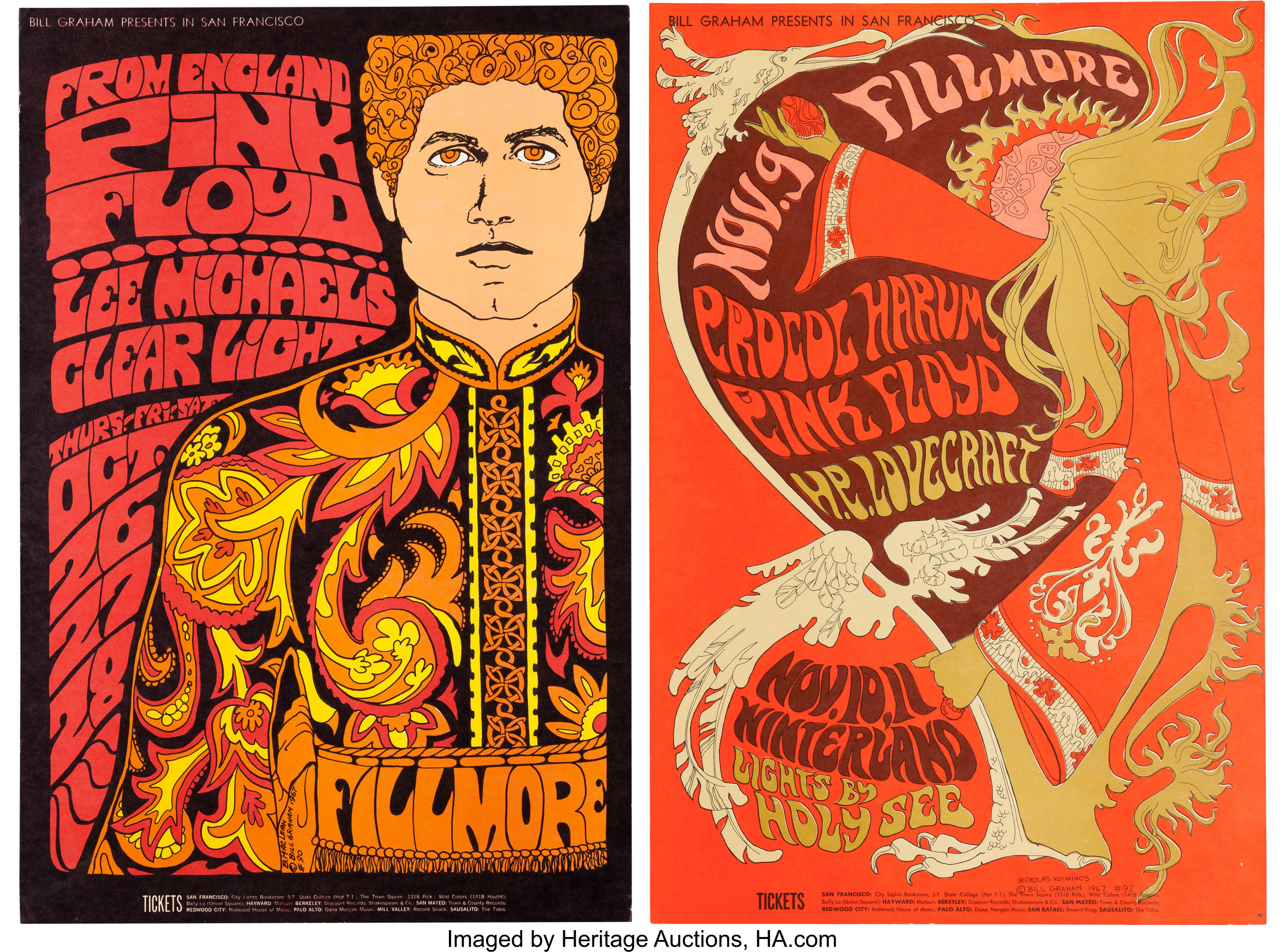 49636b46 Pink Floyd Fillmore/Winterland Concert Poster Group (Bill Graham, | Lot  #89604 | Heritage Auctions