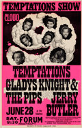 Music Memorabilia:Posters, The Temptations/Gladys Knight and the Pips Forum Concert Poster(World Wide Productions, 1969)....