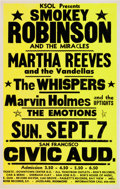 Music Memorabilia:Posters, Smokey Robinson and the Miracles/Martha Reeves and the VandellasSan Francisco Civic Auditorium Concert Poster (KSOL, 1969)....