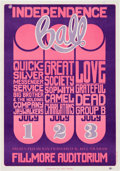 "Music Memorabilia:Posters, Quicksilver Messenger Service/Big Brother & the HoldingCompany/Grateful Dead ""Independence Ball"" Fillmore Concert PosterBG-1..."