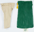 Football Collectibles:Others, Terrell Buckley Personal Laundry Bag and Corey Harris Game Worn Green Bay Packers Throwback Pants....