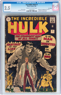 The Incredible Hulk #1 UK Edition (Marvel, 1962) CGC GD+ 2.5 Cream to off-white pages