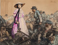"Movie/TV Memorabilia:Original Art, A Watercolor by Dan Sayre Groesbeck from ""Gone with the Wind.""..."