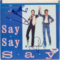 Music Memorabilia:Autographs and Signed Items, Paul McCartney and Michael Jackson Say Say Say Signed 45Record Sleeve (Columbia 38-04168, 1983)....