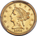 Liberty Quarter Eagles, 1842-D $2 1/2 XF45 PCGS. Variety 3-F....