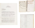 Music Memorabilia:Documents, Chet Baker Personal Address Books, Original Signed Contract, And Film Memorabilia...