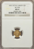 California Fractional Gold: , 1853 $1 Liberty Octagonal 1 Dollar, BG-530, R.2, MS61 NGC. NGCCensus: (22/38). PCGS Population (27/58). ...