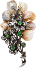 Estate Jewelry:Brooches - Pins, Antique Freshwater Pearl, Demantoid Garnet, Diamond, Silver-Topped Gold Brooch. ...