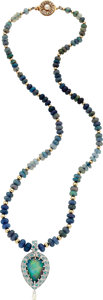 Estate Jewelry:Necklaces, Black Opal, Diamond, Tourmaline, Cultured Pearl, GoldPendant-Necklace. ...