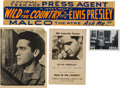 Music Memorabilia:Autographs and Signed Items, Elvis Presley Autographed Promotional Image and Press Agent Banner, 1961.... (Total: 4 Items)