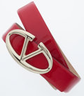 Luxury Accessories:Accessories, Valentino Red Patent Leather Belt with Silver Hardware. ...