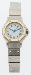 Luxury Accessories:Accessories, Cartier Stainless Steel & Brass Lady Santos Automatique Watch. ...