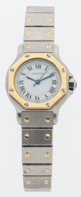 Cartier Stainless Steel & Brass Lady Santos Automatique Watch
