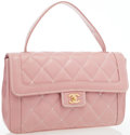 Luxury Accessories:Bags, Chanel Pink Quilted Leather Top Handle Bag. ...