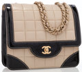 Luxury Accessories:Bags, Chanel Beige Quilted Lambskin Leather & Black Patent LeatherFlap Bag . ...