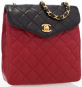 Luxury Accessories:Bags, Chanel Red & Black Quilted Lambskin Leather Shoulder Bag. ...