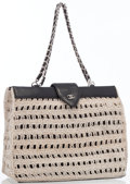 Luxury Accessories:Bags, Chanel Beige Crocheted Satin & Black Leather Tote Bag. ...