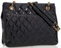 Luxury Accessories:Bags, Chanel Black Quilted Patent Leather Tote Bag. ...