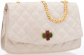 Luxury Accessories:Bags, Chanel Beige Quilted Satin Flap Bag. ...