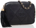 Luxury Accessories:Bags, Chanel Black Quilted Lambskin Leather Camera Bag with Tassel. ...