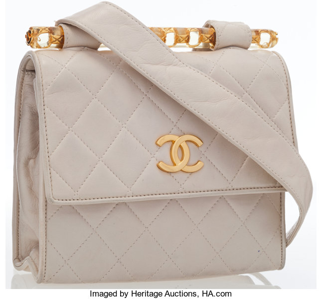 6003a9f04b6ca6 Luxury Accessories:Bags, Chanel Beige Quilted Lambskin Leather Shoulder Bag  with GoldHardware.