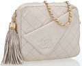 Luxury Accessories:Bags, Chanel Cream Quilted Lambskin Leather Camera Bag with Tassel. ...