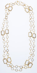 Luxury Accessories:Accessories, Chanel Crystal & Gold Sautoir Necklace. ...
