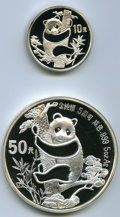 China, China: People's Republic of China Two-piece lot of 10 & 50 Yuan silver Panda 1987,... (Total: 2 coins)
