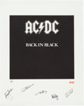 "Music Memorabilia:Autographs and Signed Items, AC/DC ""Back in Black"" Limited Edition Lithograph Print Signed byAll Five Members Artist's Proof #19/50...."