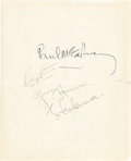 Music Memorabilia:Autographs and Signed Items, Beatles Autographs On British Governmental Stationery, Early1960s....
