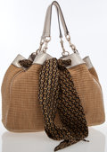 Luxury Accessories:Bags, Gucci Beige Straw Positano Tote Bag with Scarf Detail & SilverTrim. ...