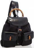 Luxury Accessories:Bags, Gucci Black Leather & Canvas Backpack with Bamboo Hardware. ...