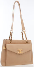 Luxury Accessories:Bags, Chanel Beige Lambskin Leather Tote Bag with Gold Hardware. ...