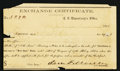 Confederate Notes:Group Lots, Confederate Exchange Certificate Jefferson, TX- $4,000 Dec. 28,1864 Tremmell TX-58.. ...