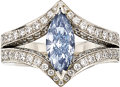Estate Jewelry:Rings, Fancy Intense Blue Diamond, Diamond, Platinum Ring. ...