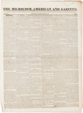 """Miscellaneous:Newspaper, [David Crockett]. Newspaper: The Microcosm, American andGazette. Four pages, 15.25"""" x 20.75"""", Providence, March..."""