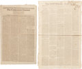 "Miscellaneous:Newspaper, [Dueling]. Two Newspapers including: The ConnecticutCentinel. Four pages, 10.75"" x 17.5"", Norwich, October 19,1802..."