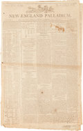 """Miscellaneous:Newspaper, [Early Railroad]. Newspaper: New-England Palladium. Fourpages, 13.25"""" x 21"""", Boston, August 28, 1801. Contains ..."""