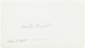"""Autographs:Inventors, Orville Wright Signature. Orville, one half of the Wright Brothers,has placed his signature on a 6.75"""" x 3.75"""" sheet of pap..."""