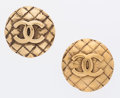 Luxury Accessories:Accessories, Chanel Quilted Gold Mademoiselle Earrings. ... (Total: 2 Items)