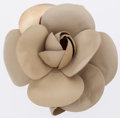 Luxury Accessories:Accessories, Chanel Beige Leather Camellia Flower Brooch. ...