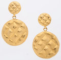 Luxury Accessories:Accessories, Chanel Quilted Gold Earrings. ... (Total: 2 Items)