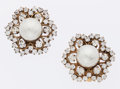 Luxury Accessories:Accessories, Chanel Crystal & Glass Pearl Gold Earrings. ... (Total: 2Items)