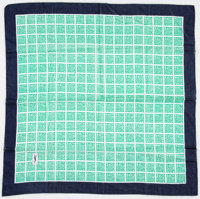 Yves Saint Laurent Green, White & Navy Cotton Scarf